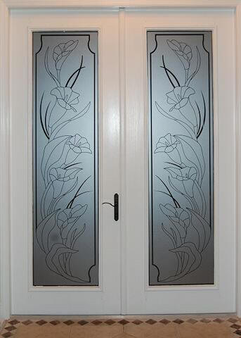 Etched calla lily door decal
