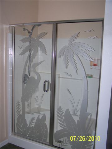 Etched heron shower door decal